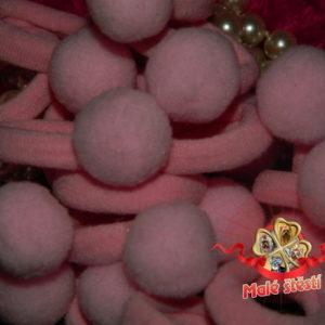 Froté gumička s bambulí, světle růžová (pár)