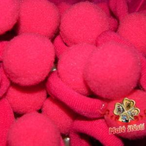 Froté gumička s bambulí, sytě růžová (pár)